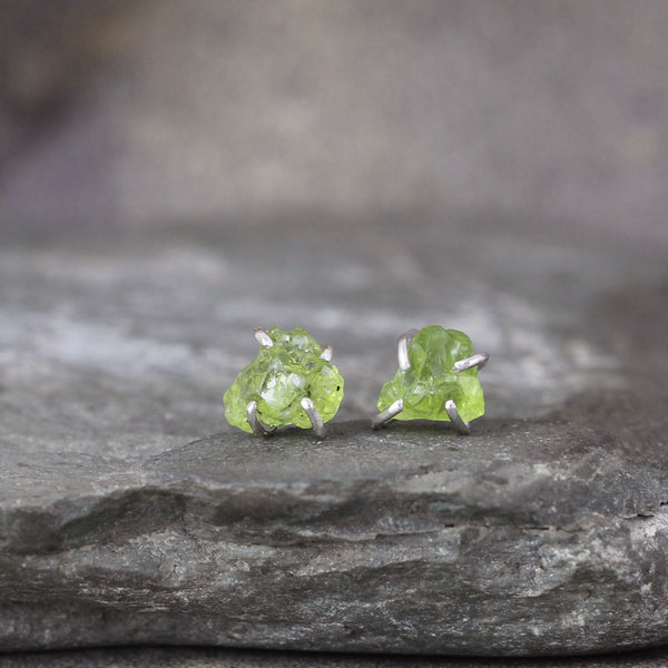 Peridot Gemstone Earrings - Raw Uncut Rough Rustic Gemstone