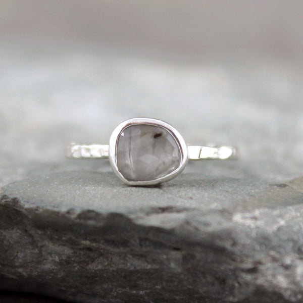 Misty Grey Sapphire Ring - Rose Cut Sapphire Gemstone Stacking Rings