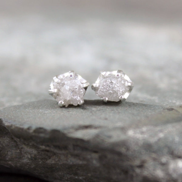 Rough Uncut Raw Diamond Earrings - Sterling Silver Stud Style