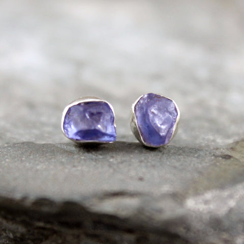 Tanzanite Earrings - Raw Rough Uncut Tanzanite Gemstone Earrings