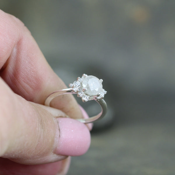 Modern Halo Ring with Misty White Natural Diamond