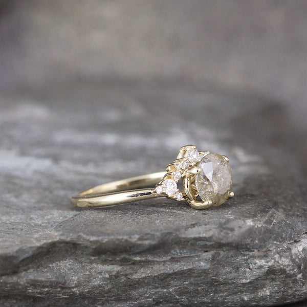 Yellow Gold Modern Halo Ring with Sparkling Champagne Natural Diamond