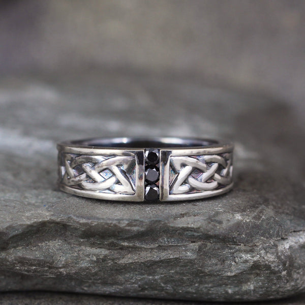 Celtic Knot Ring set with Black Diamonds
