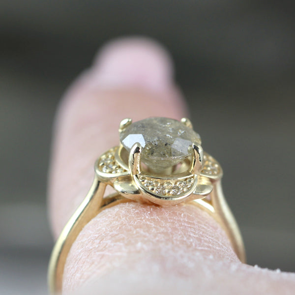 Champagne Diamond Engagement Ring 14K Yellow Gold