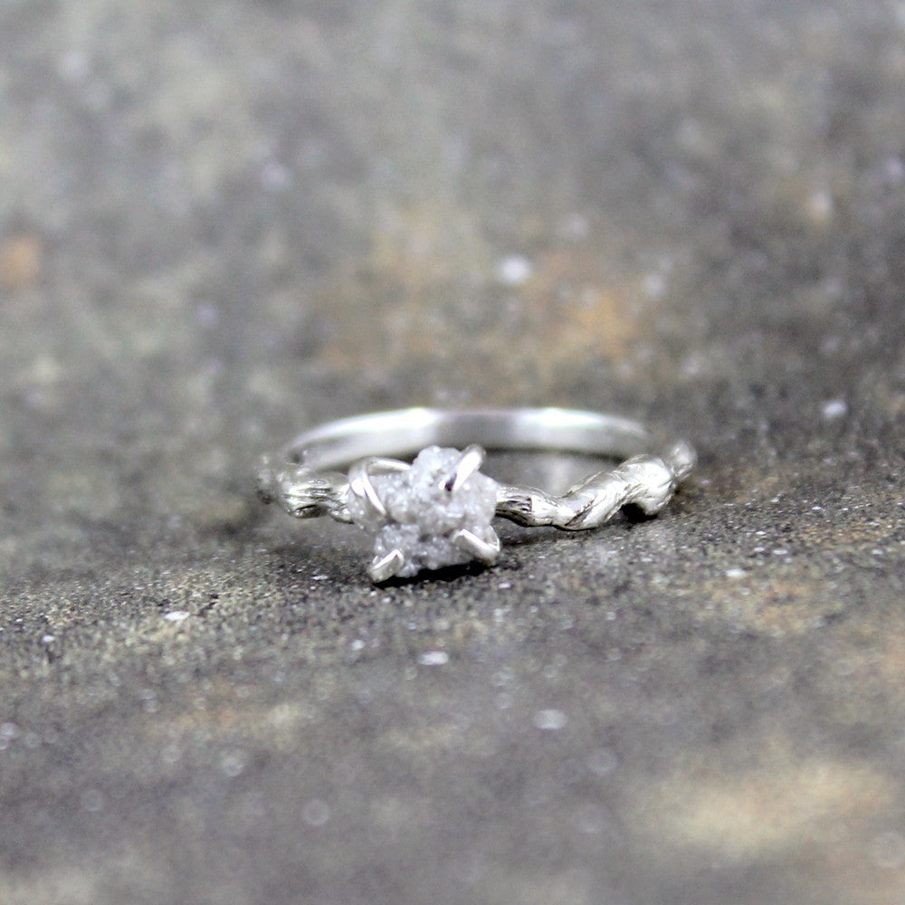 ring asymmetrical rings avens bario diamond engagement rough raw with neal