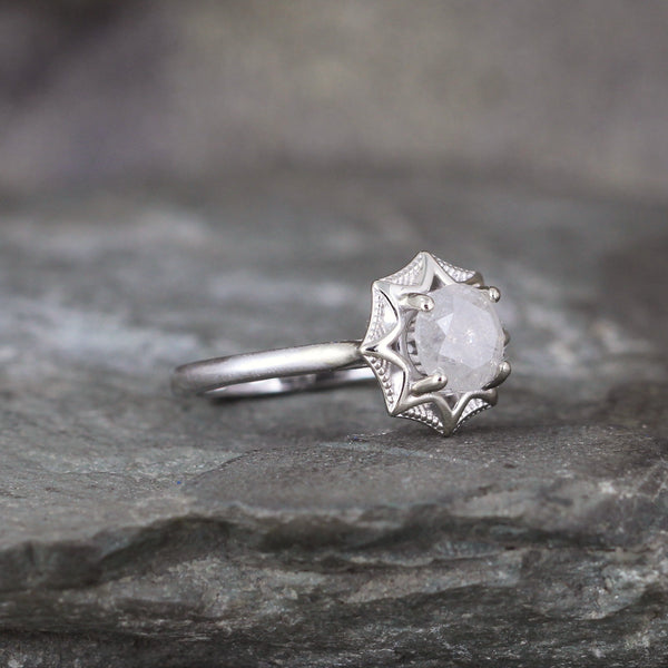 White Gold Modern Milky White Diamond Ring