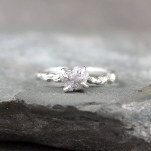 Twig Design Raw Diamond Engagement Ring - Nature Inspired - Tree Branch Band