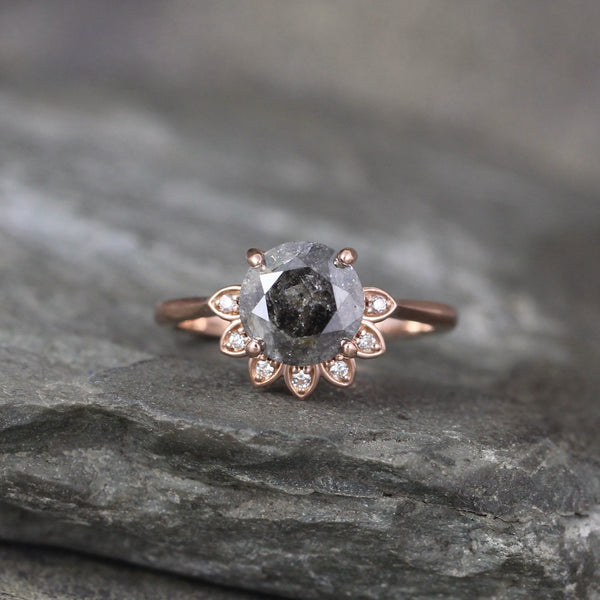 Rose Gold Salt and Pepper 2 carat Diamond Engagement Ring