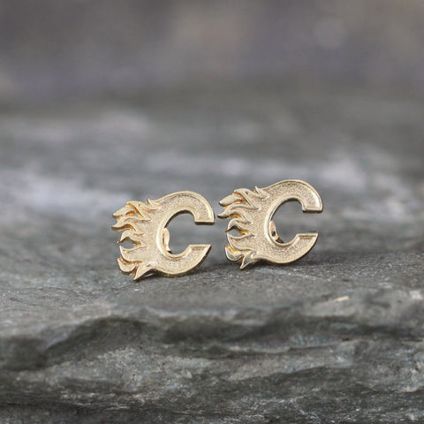 Vintage Calgary Flames Logo Earrings 10K gold