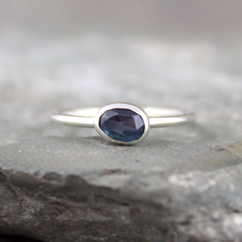 Blue Sapphire Ring - Rose Cut Sapphire Gemstone Stacking Rings