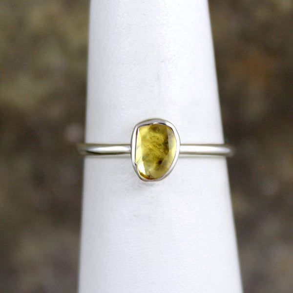 Yellow Sapphire Ring - Rose Cut Sapphire Gemstone Stacking Rings