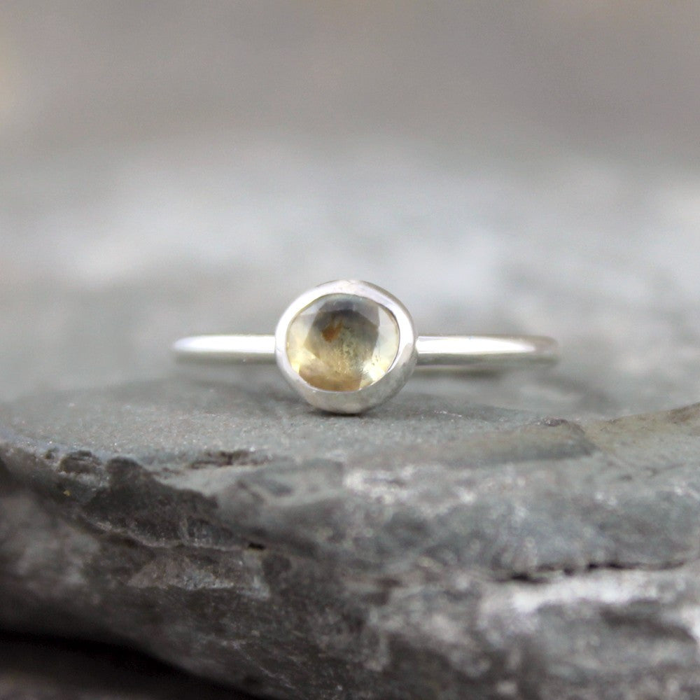 Light Yellow Sapphire Ring - Rose Cut Sapphire Gemstone Stacking Rings