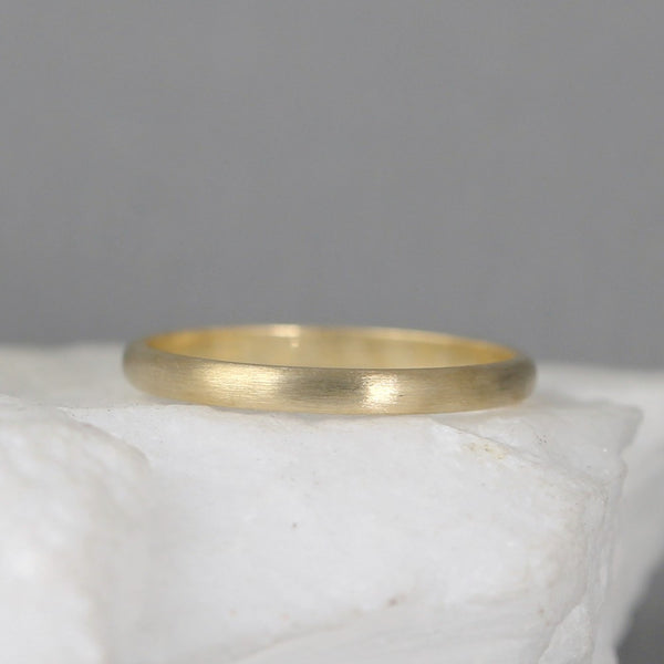 2mm 14K Yellow Gold Wedding Band – Classic Round Edge Band -  Men's or Ladies Wedding Rings – Matte Finish