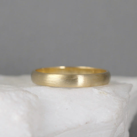 3mm 14K Yellow Gold Wedding Band – Classic Round Edge Band -  Men's or Ladies Wedding Rings – Matte Finish