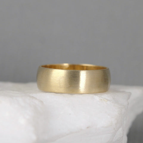 6mm 14K Yellow Gold Wedding Band – Classic Round Edge Band -  Men's or Ladies Wedding Rings – Matte Finish