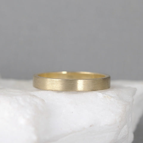 3mm 14K Yellow Gold Wedding Band – Men's or Ladies Wedding Rings – Matte Finish