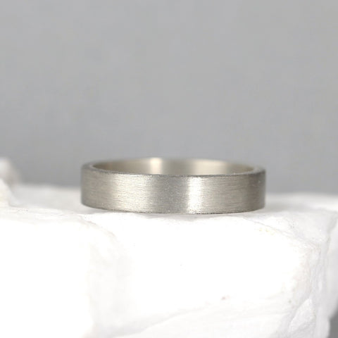 4mm 14K White Gold Wedding Band – Men's or Ladies Wedding Rings – Matte Finish