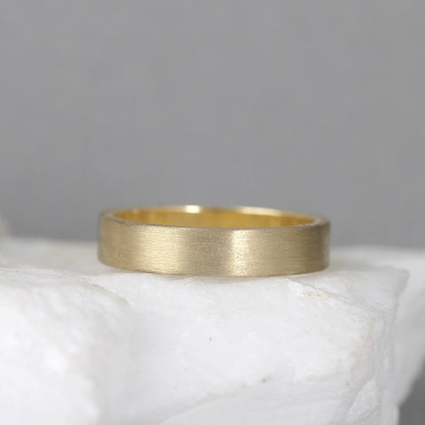 4mm 14K Yellow Gold Wedding Band – Men's or Ladies Wedding Rings – Matte Finish
