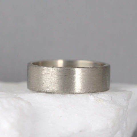 6mm 14K White Gold Wedding Band – Men's or Ladies Wedding Rings – Matte Finish