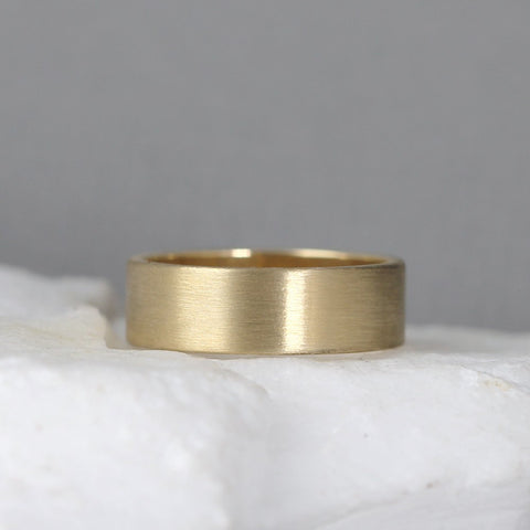 6mm 14K Yellow Gold Wedding Band – Men's or Ladies Wedding Rings – Matte Finish