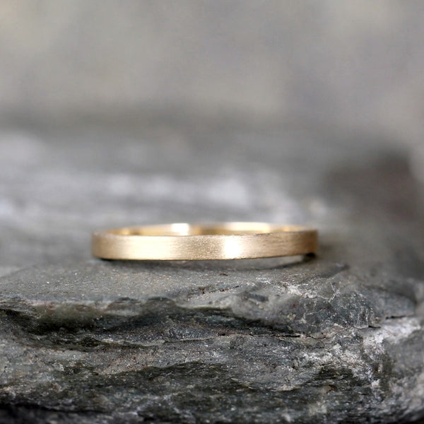 2mm 14K Yellow Gold Wedding Band – Men's or Ladies Wedding Rings – Matte Finish