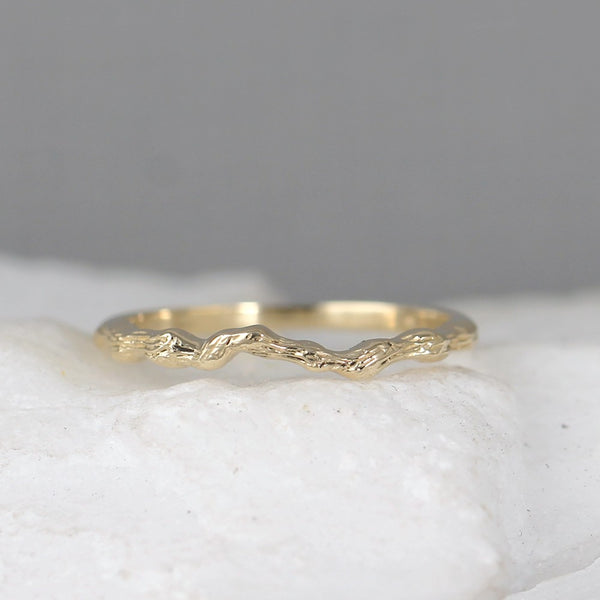 Twig Band - 14K Gold - your choice of Yellow, White or Rose