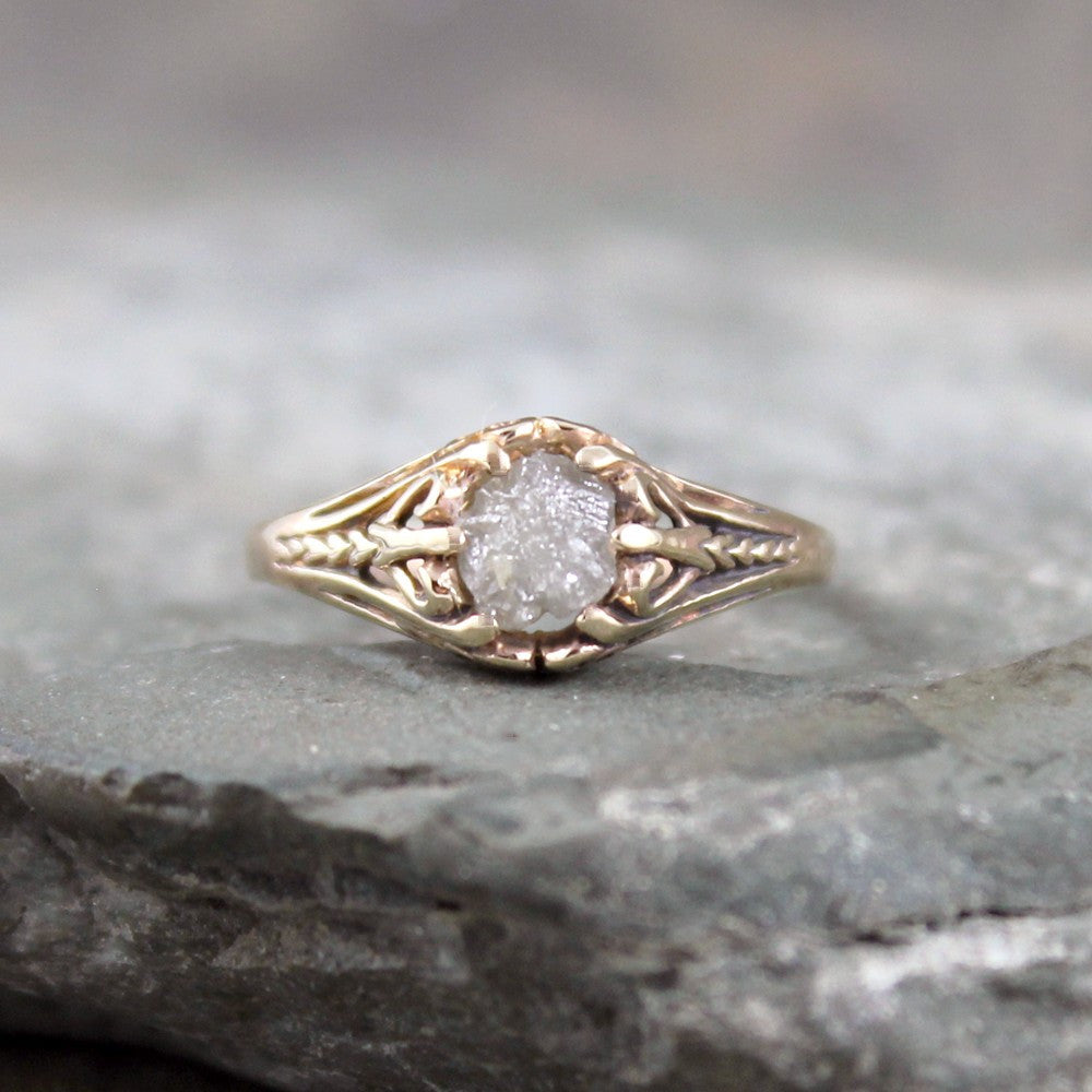 Raw Diamond Engagement Ring - 14K Gold Filigree Design