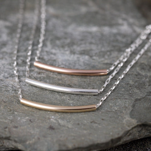 Sterling Silver Curved Bar Necklace - Layering Necklace
