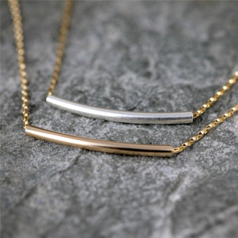 14K Yellow Gold Filled  Curved Bar Necklace - Layering Necklace