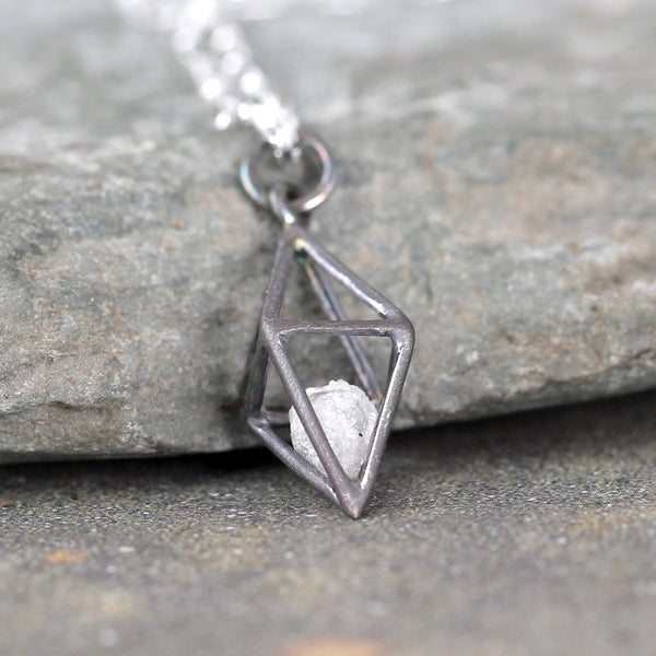 3D Diamond Pendant - Caged Rough Diamond Necklace