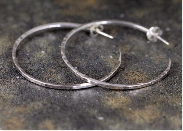 Sterling Silver Hammered Hoop - Large