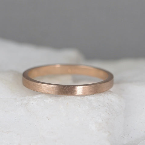2mm 14K Rose Gold Wedding Band – Men's or Ladies Wedding Rings – Matte Finish