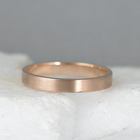3mm 14K Rose Gold Wedding Band – Men's or Ladies Wedding Rings – Matte Finish