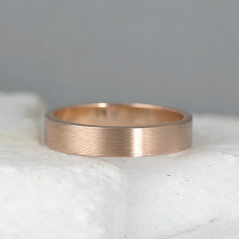 4mm 14K Rose Gold Wedding Band – Men's or Ladies Wedding Rings – Matte Finish