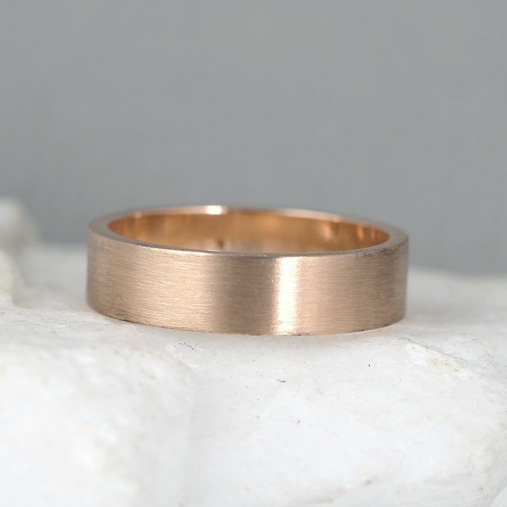 5mm 14K Rose Gold Wedding Band – Men's or Ladies Wedding Rings – Matte Finish
