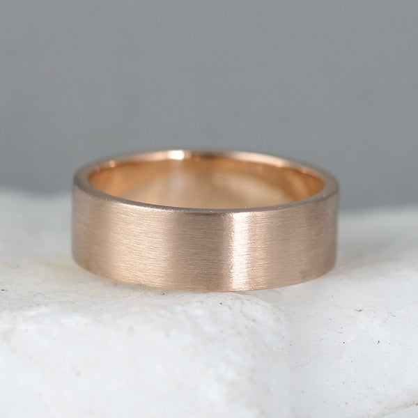 6mm 14K Rose Gold Wedding Band – Men's or Ladies Wedding Rings – Matte Finish