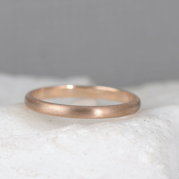 2mm 14K Rose Gold Wedding Band – Classic Round Edge Band -  Men's or Ladies Wedding Rings – Matte Finish