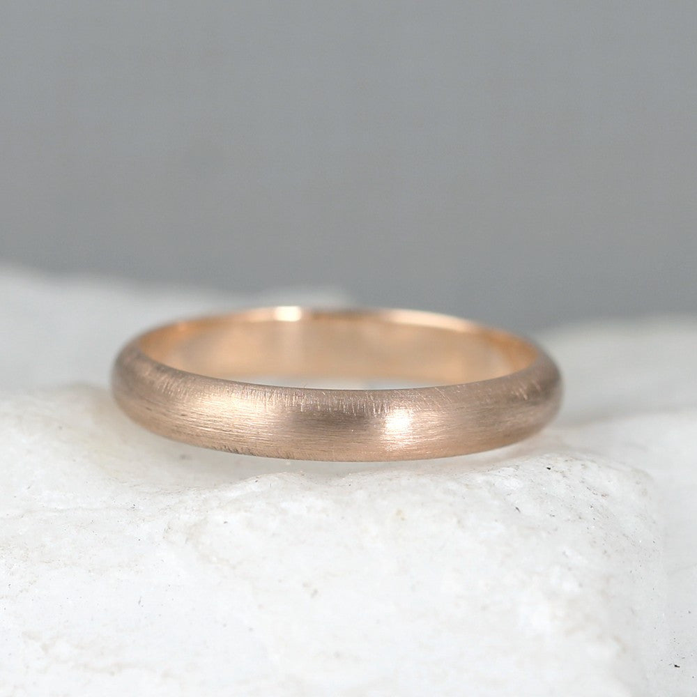3mm 14K Rose Pink Gold Wedding Band – Classic Round Edge Band -  Men's or Ladies Wedding Rings – Matte Finish