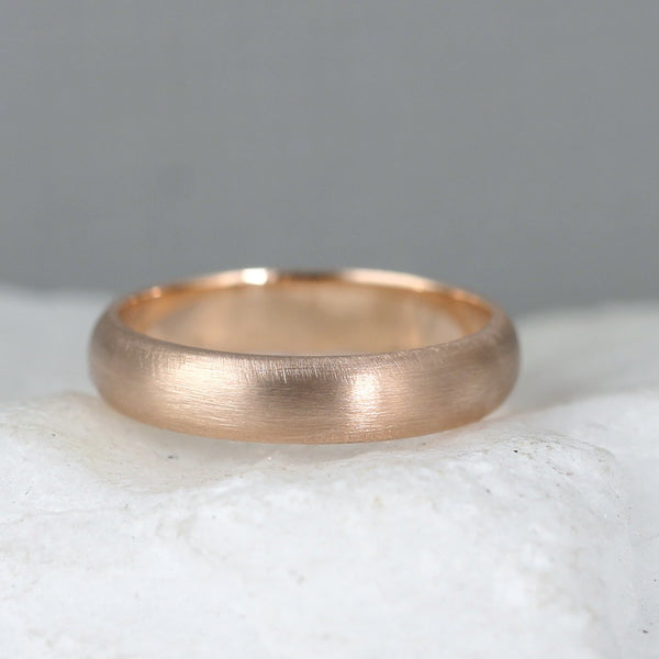 4mm 14K Rose Pink Gold Wedding Band – Classic Round Edge Band -  Men's or Ladies Wedding Rings – Matte Finish