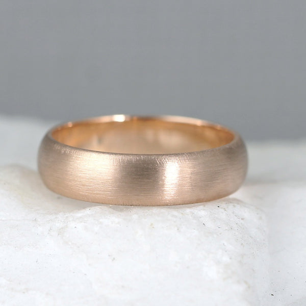5mm 14K Pink Rose Gold Wedding Band – Classic Round Edge Band -  Men's or Ladies Wedding Rings – Matte Finish