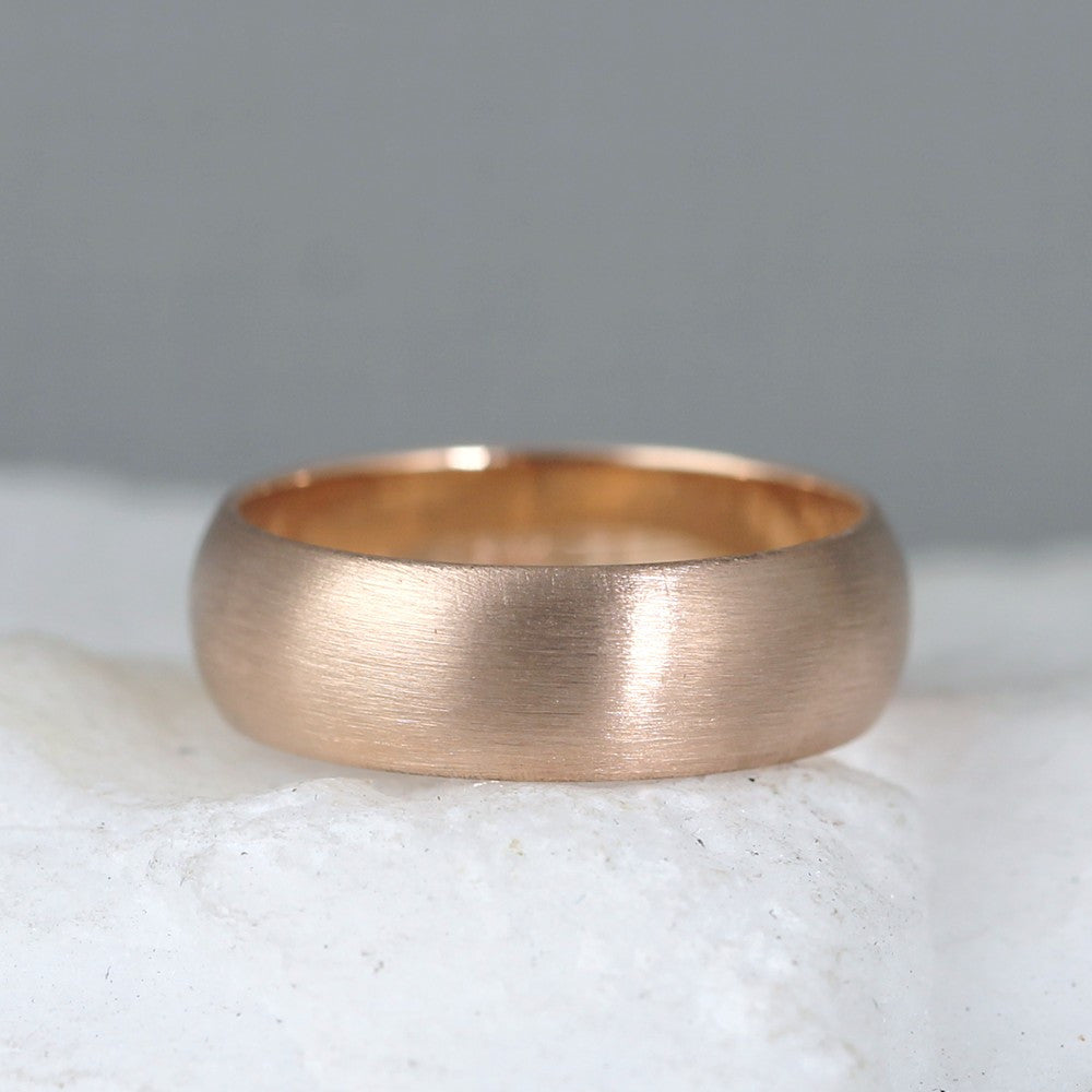 6mm 14K Pink Rose Gold Wedding Band – Classic Round Edge Band -  Men's or Ladies Wedding Rings – Matte Finish