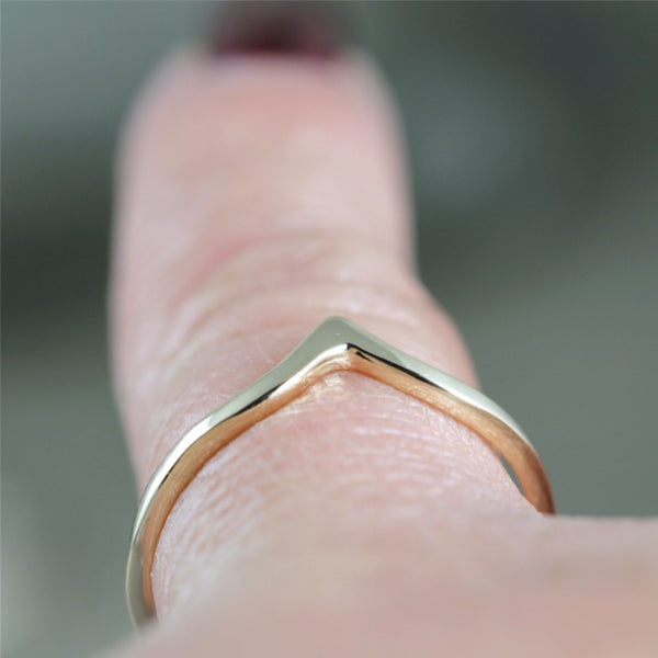 Chevron 'V' Ring - 14K Rose Pink Gold - Stacking Ring - Wedding Band