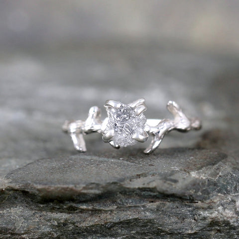 Twig & Branch Design Raw Diamond Engagement Ring - Nature Inspired - Tree Branch Band