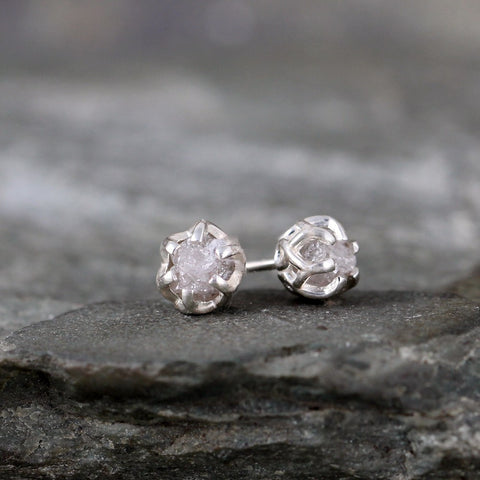 Raw Diamond Earrings - 1 Carat Total Weight - Sterling Silver Basket Weave Stud Earring