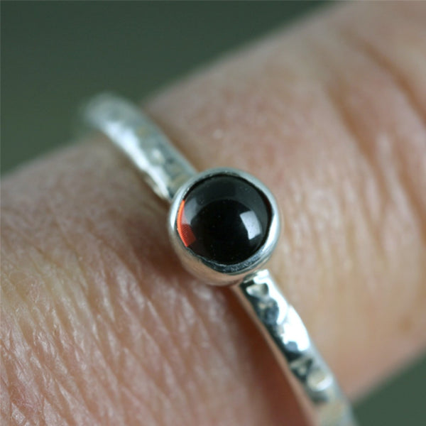 Garnet Stacking Ring - Rustic Sterling Silver - January Birthstone Ring