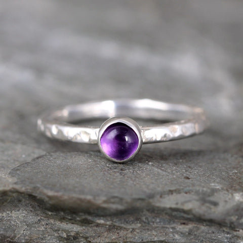 Amethyst Stacking Ring - Rustic Sterling Silver - February Birthstone Ring