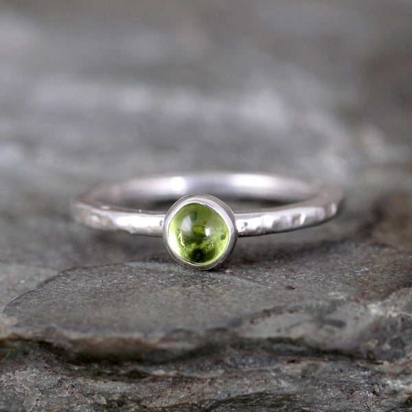 Peridot Stacking Ring - Rustic Sterling Silver - August Birthstone Ring