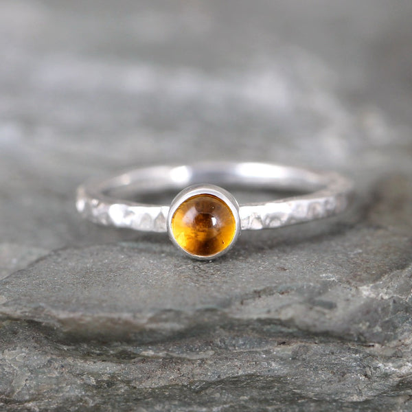 Citrine Stacking Ring - Rustic Sterling Silver - November Birthstone Ring