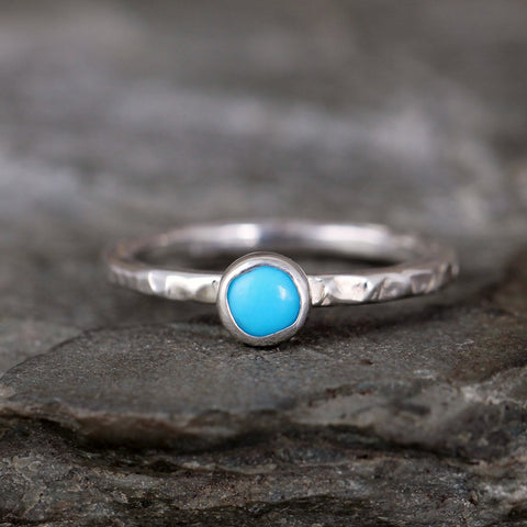 Turquoise Stacking Ring - Rustic Sterling Silver - December Birthstone Ring