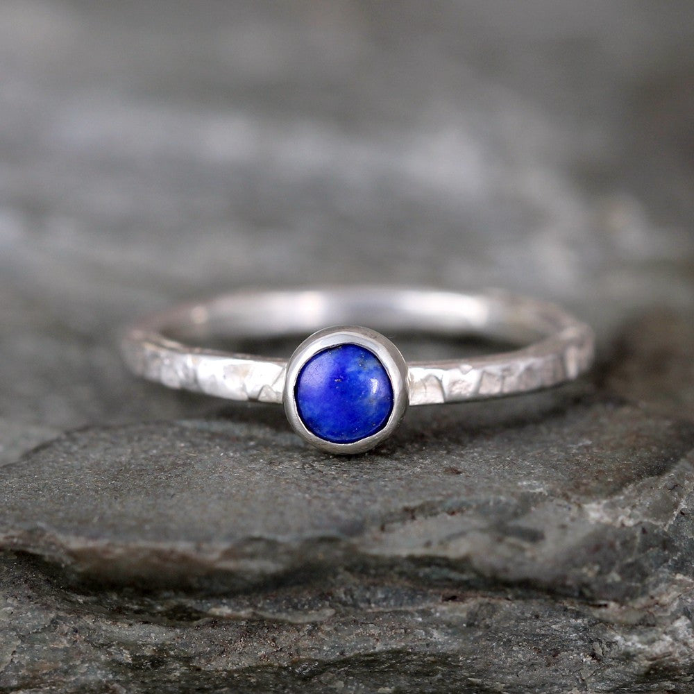 Lapis Stacking Ring - Rustic Sterling Silver - Blue Lapis Lazuli